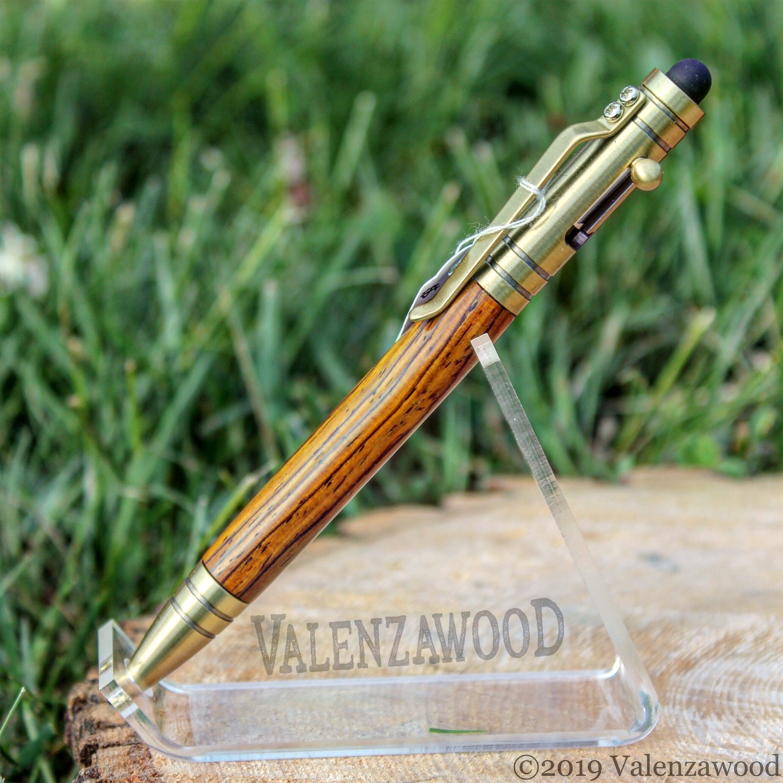 Cocobolo - Cocobolo Wood | Tec Style | Bolt Action | Antique Nrass Trim | Ballpoint Pen