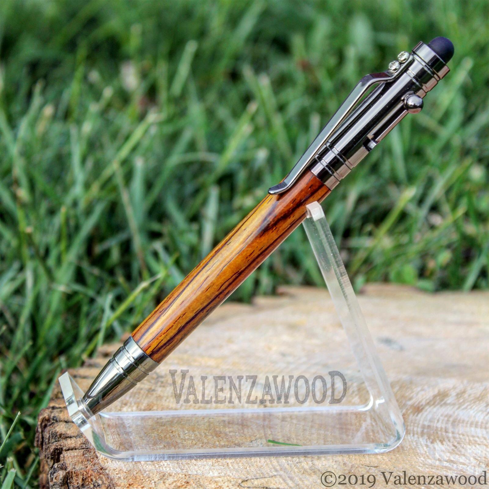 Cocobolo - Cocobolo Wood | Tec Style | Bolt Action | Gun Metal Trim | Ballpoint Pen