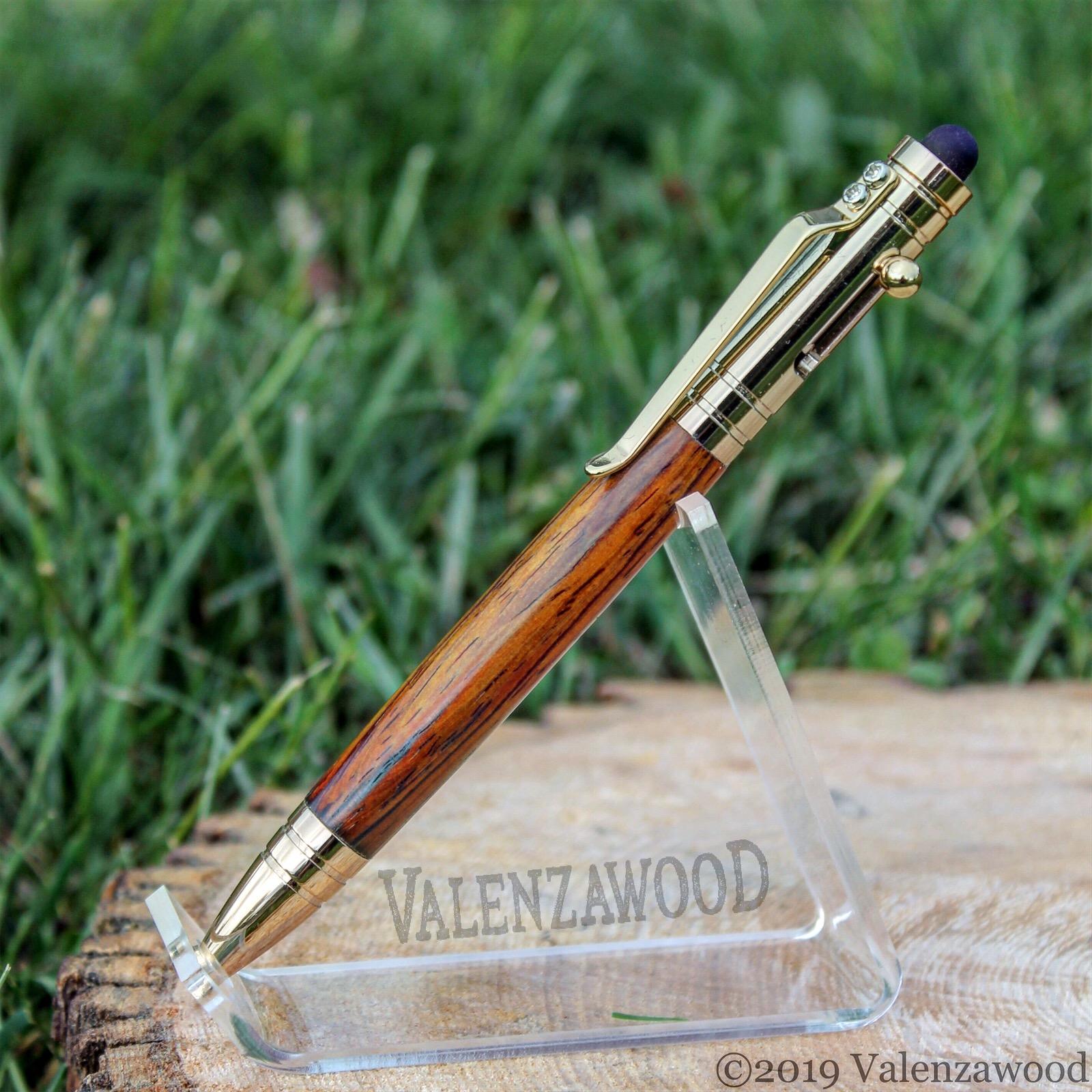 Cocobolo - Cocobolo Wood | Tec Style | Bolt Action | Gold Trim | Ballpoint Pen