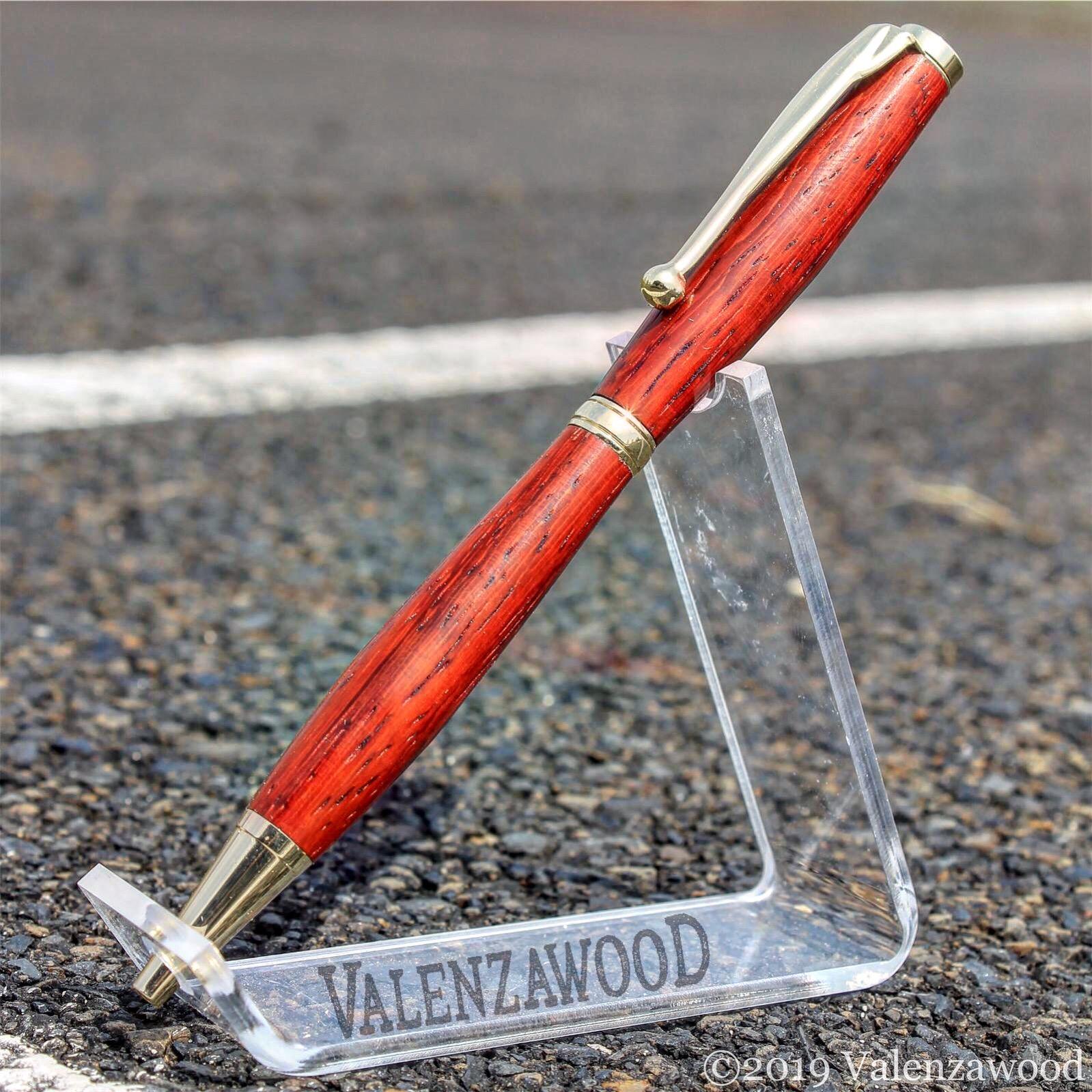 Padauk - Padauk Wood | Slimline Style | Twist Action | Gold Trim | Ballpoint Pen