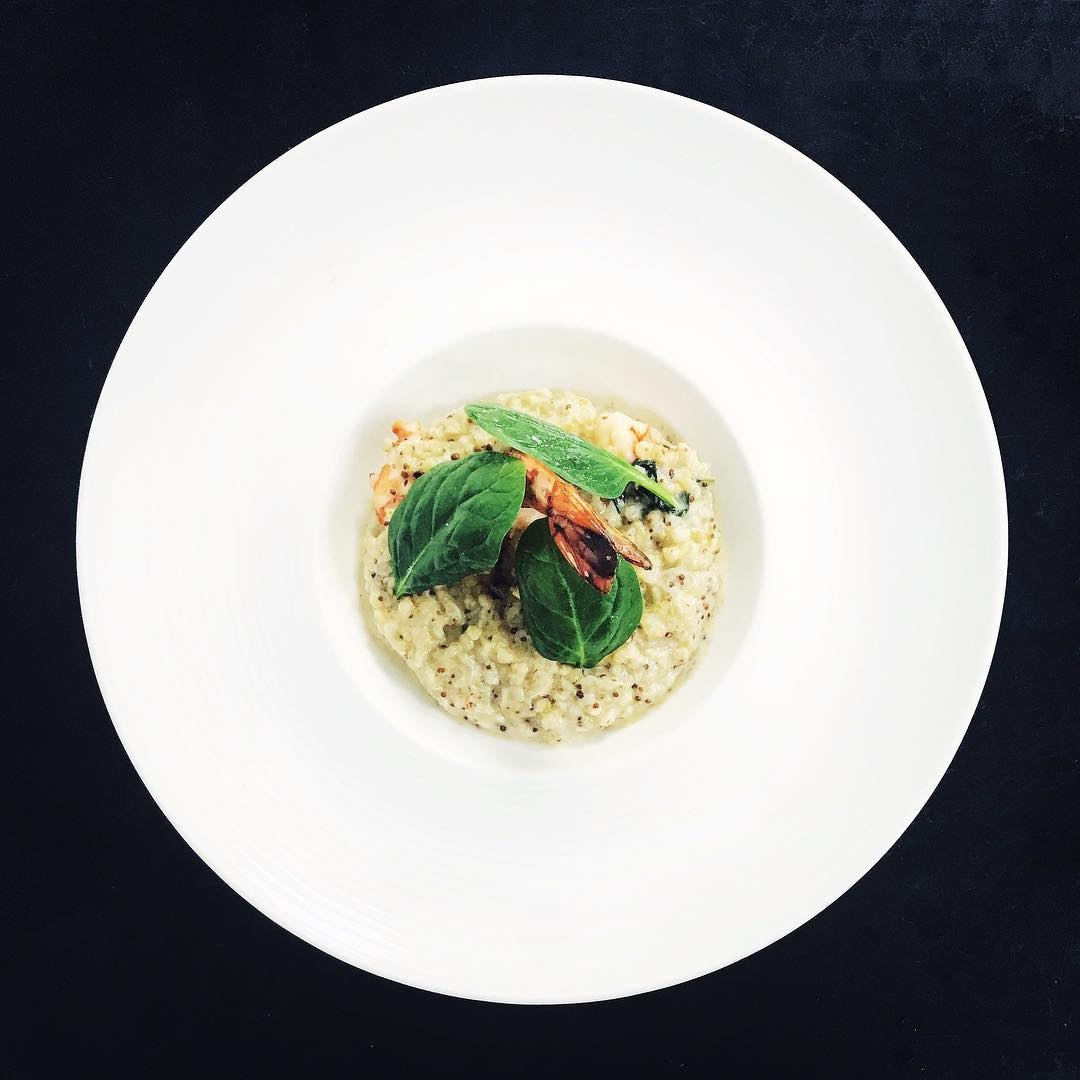 Buckwheat risotto with king prawns, spinach sprouts, grainy mustard- Le 3e Restaurant Nice