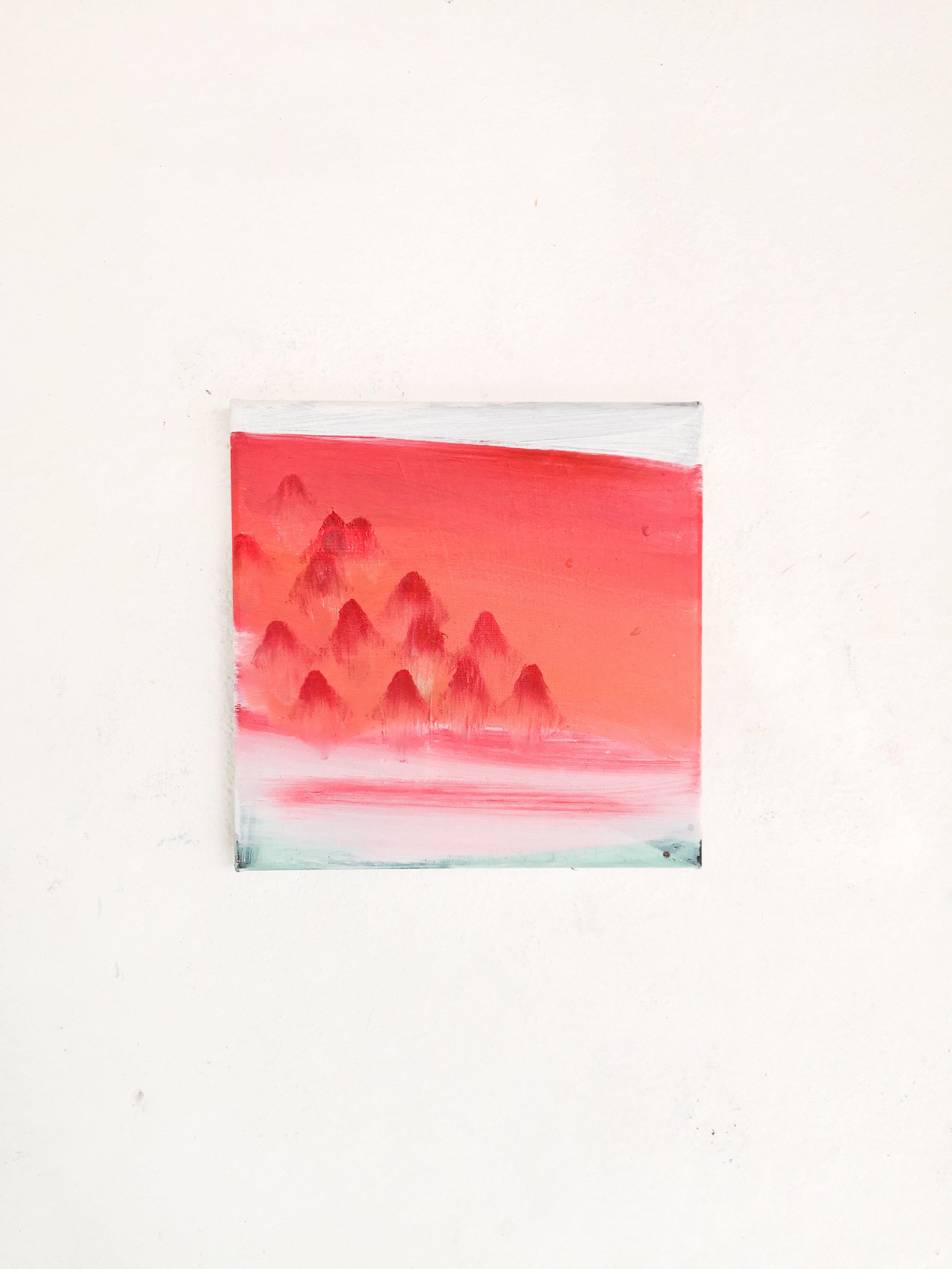 """mountain vibe""    25x25cm acrylic and oil on canvas"