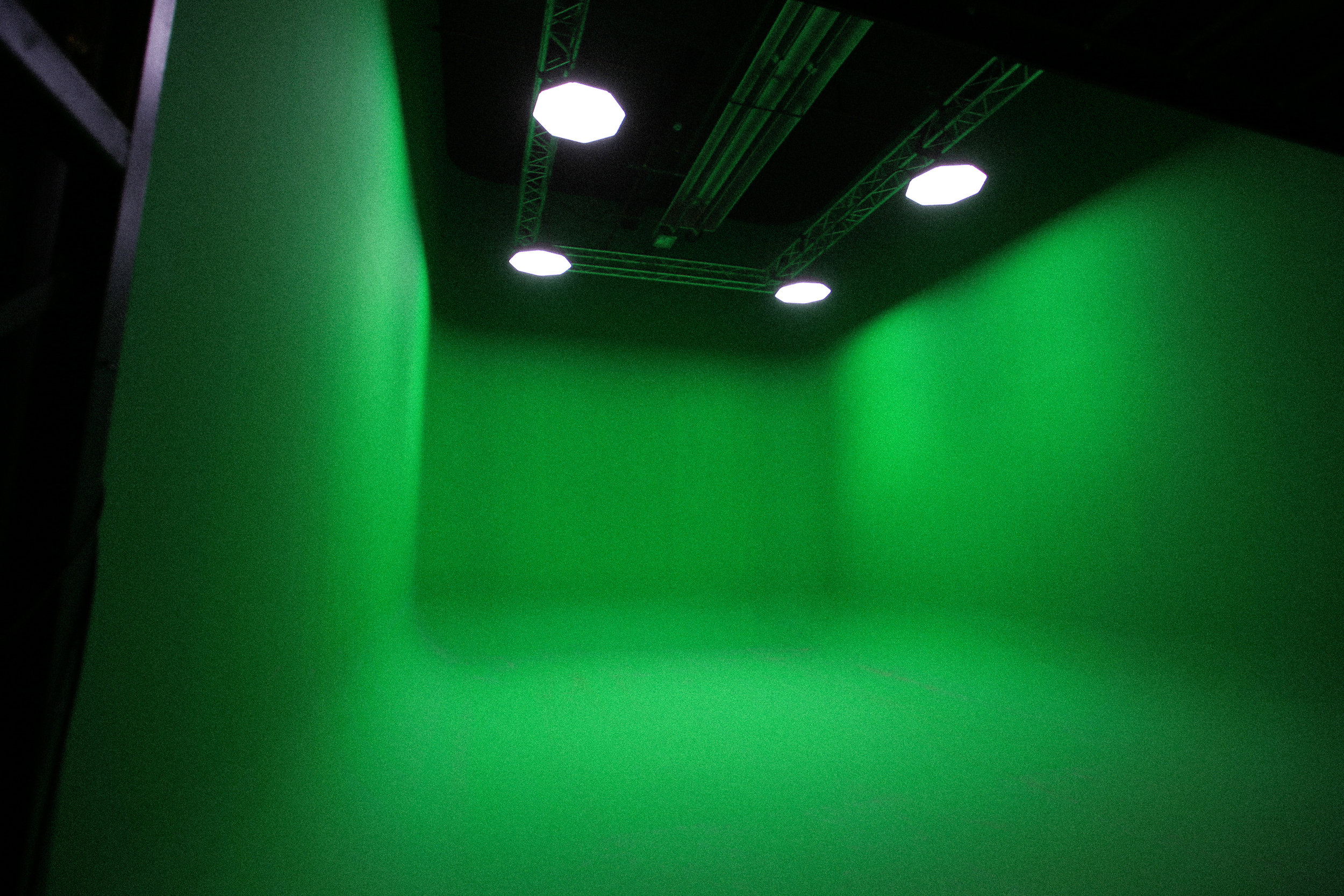GO GREEN… - OUR PRE-LIT CYCLORAMA GREEN SCREEN IS THE IDEAL SPACE FOR CONTENT CREATION