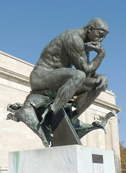 Auguste Rodin, The Thinker with legs and stool blown apart by Weather Underground in March, 1970, Cleveland Museum of Art, USA (photo: © All Rights Reserved by Joseph Hollick )
