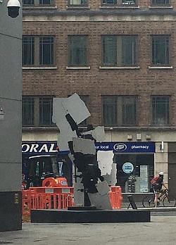 William Kentridge and Gerhard Marx, Firewalker, 2014, painted steel, Sculpture in the City 2016, Bishopsgate, London EC2 (photo: Rana Begum)