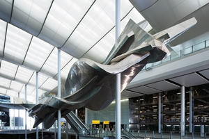 Slipstream , April 2014, plywood and aluminium, length 78m., weight 77 tonnes, Heathrow Terminal 2, Hounslow, photo courtesy David Levene