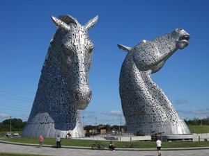 The Kelpies , 2013, stainless steel skin panels, h.30m., 'the Helix' Park, Falkirk, Scotland, photo courtesy of the Public Monuments and Sculpture Association
