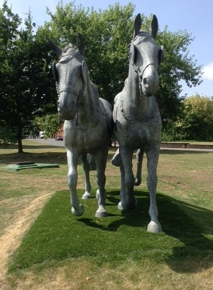 The Windsor Greys , 2014, bronze, life-size, the roundabout at Albert and Kings Road Junction, Windsor, Berkshire,photo courtesy of the Public Monuments and Sculpture Association