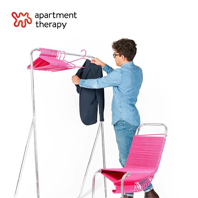 """Thanks to @apartmenttherapy for writing such a nice review of my chair! - """"This Kickstarter project is part Chair, part closet - and it's perfect for your lazy, clothes-tossing self."""" • • Your closet. Reinvented. This award-winning, iconic design creates unexpected meaning in mundane objects. Recombining clothes hangers and a steel closet rod, it elevates these pedestrian artifacts into something special. • • #coatcheckchair @kickstarter #kickstarter #id #kickstarterdesign #design #designer #diseño #diseñoindustrial #joeyzeledon #interiordesign #decor #art  #artist #instaart #interiors #industrialdesign #furnituredesign #furniture #chair #thefutureperfect #closetorganization #closet #designers_need @momadesignstore #product_only #apartmenttherapy"""