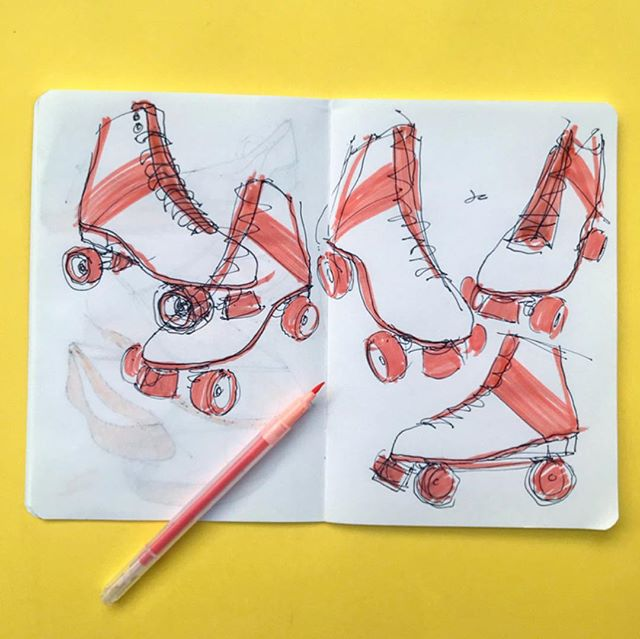 If you thought sketching shoes was challenging, try sketching roller skates! • • Thanks to @artezaofficial for the TwiMarker set. Here are my thoughts on these markers. Pros: the color range is expansive and nuanced. The water-based ink lends itself to watercolor techniques. Ink blends well with pen lines (no smearing). Cons: Color of markers don't always match the output (see 2nd image). The water-based ink has a tendency to soak through the paper if applied heavily. You have to be decisive and quick when color blocking. • • #arteza #art #markers #design #artist #artistsoninstagram #designer #designersofinstagram #industrialdesign #sketch #drawing #sketches #idsketching #sketchbook #sketching #illustration #ad