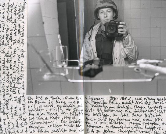 Page of the photographers travel journal, 1992