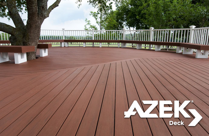 If you're looking for the longest-lasting, most durable decking product for your home, Azek's 100% PVC Decking is the perfect choice for you. Azek combines the look of natural wood decking, with a durability that allows it to stand the test of time, and withstand all of the weather conditions it will be subjected to. Azek Decking also comes with a 50 Year Limited Fade & Stain Warranty.