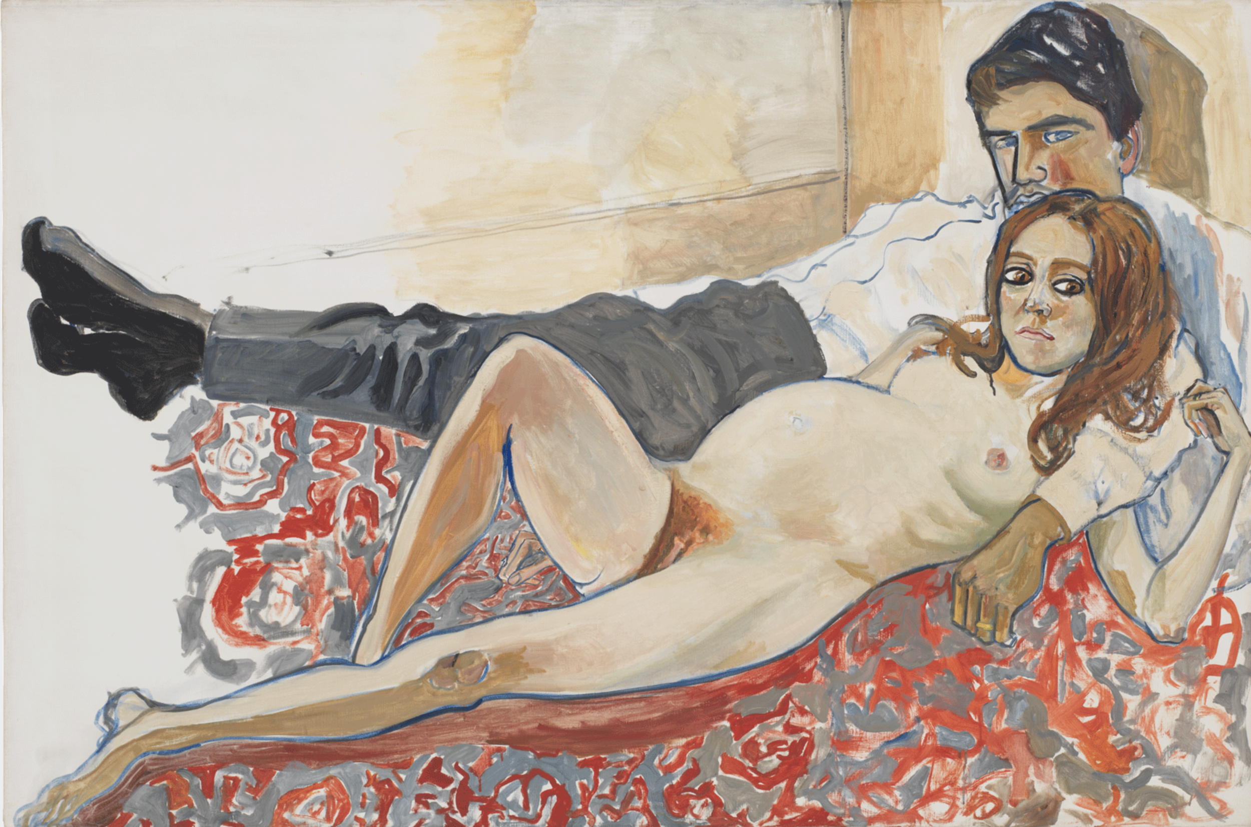 Pregnant Julie and Algis , 1967 Oil on canvas Courtesy of the Estate of Alice Neel
