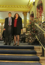 Robert Lefkowitz, chemistry co-winner, and Lynn Lefkowitz in the Grand Hotel lobby.