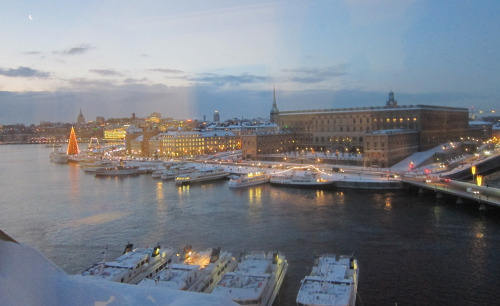 View of Stockholm from Grand Hotel, about 8 am. Photo: Deborah Shapley