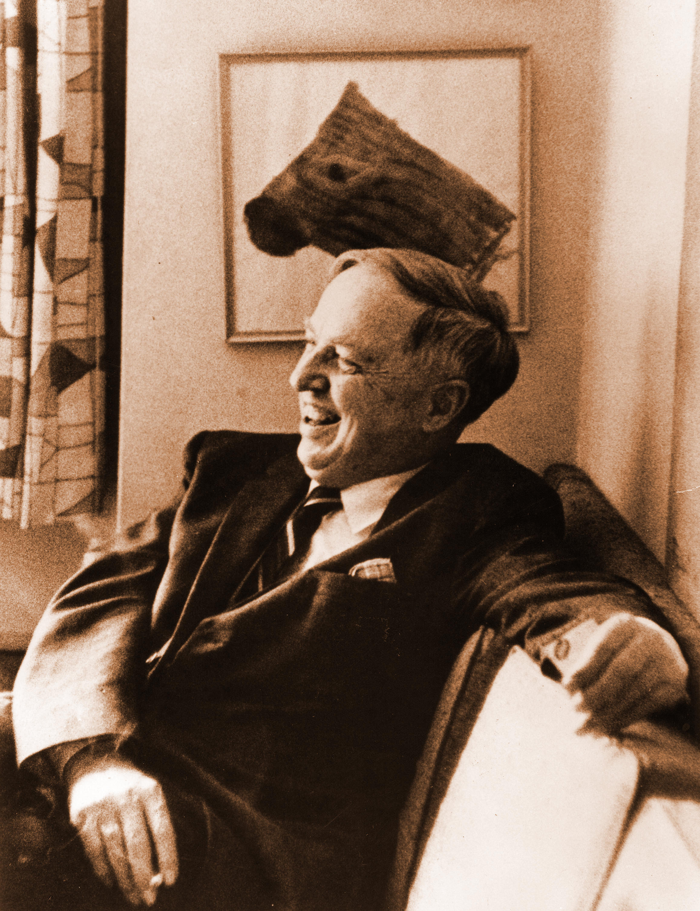 Harlow Shapley in his living room in Sharon, New Hampshire, 1966.  Photo source: ESVA, Shapley Collection