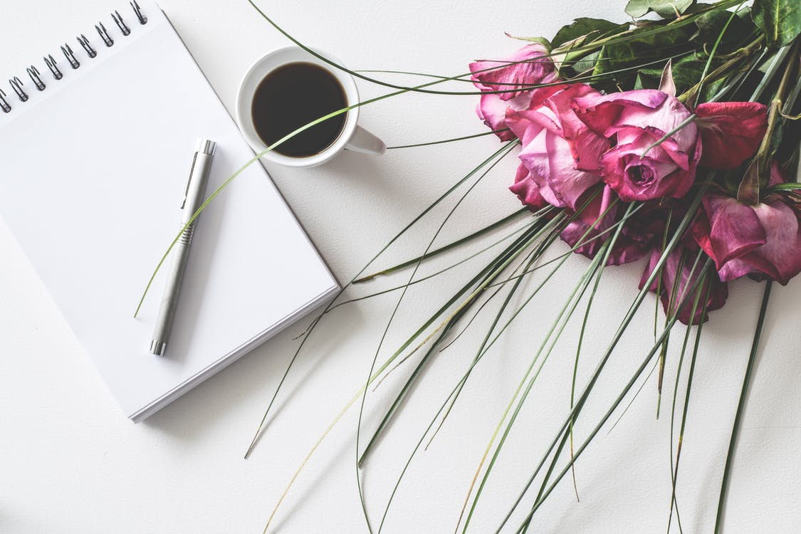 Stock Art Image of Pen Pad Coffee Floral