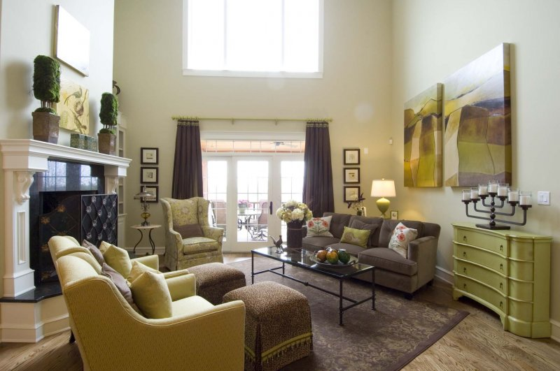 Contemporary Living Room in Earth Tones