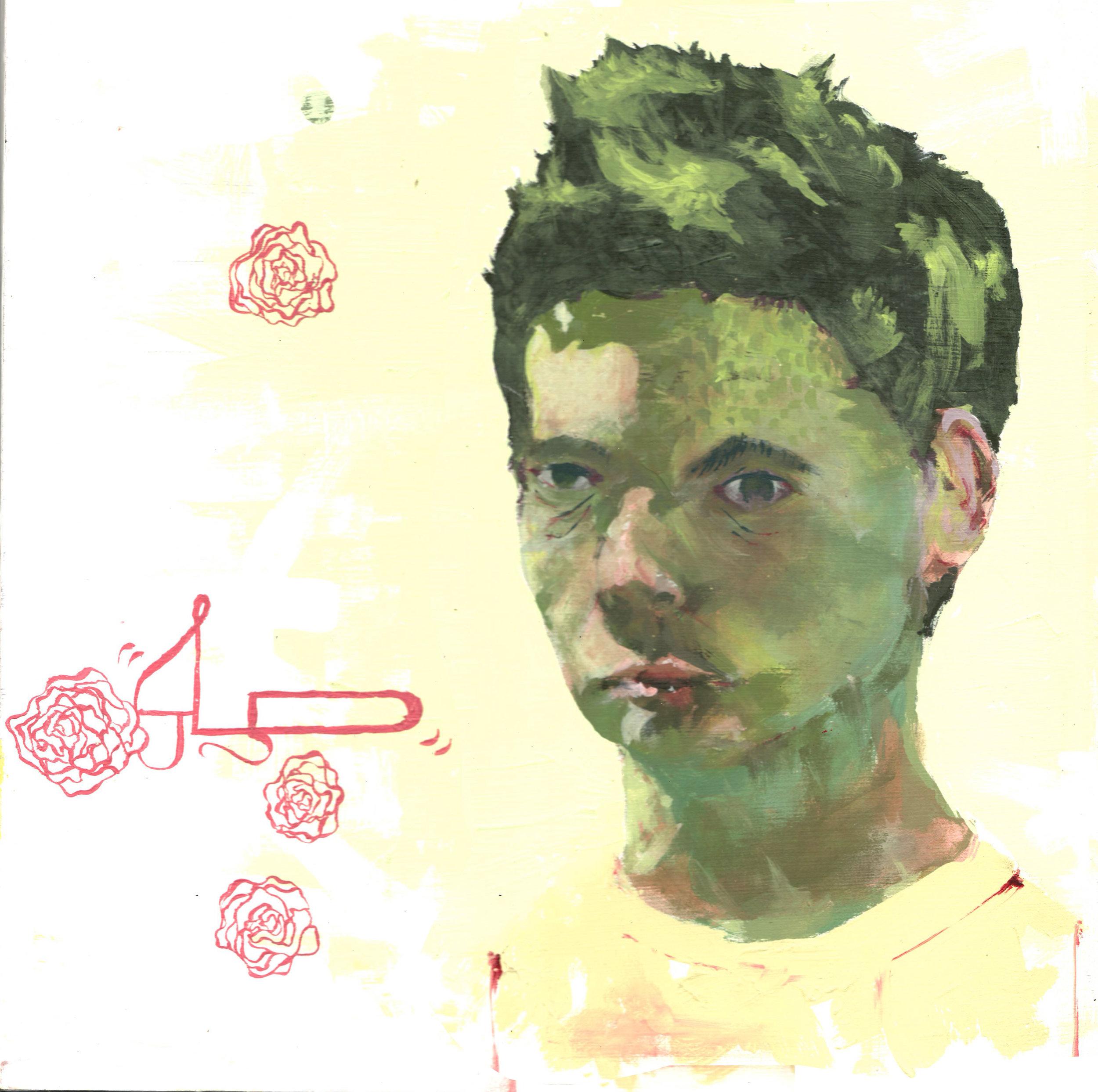 "Green , 2015 Acrylic on masonite. 14"" x 14"""