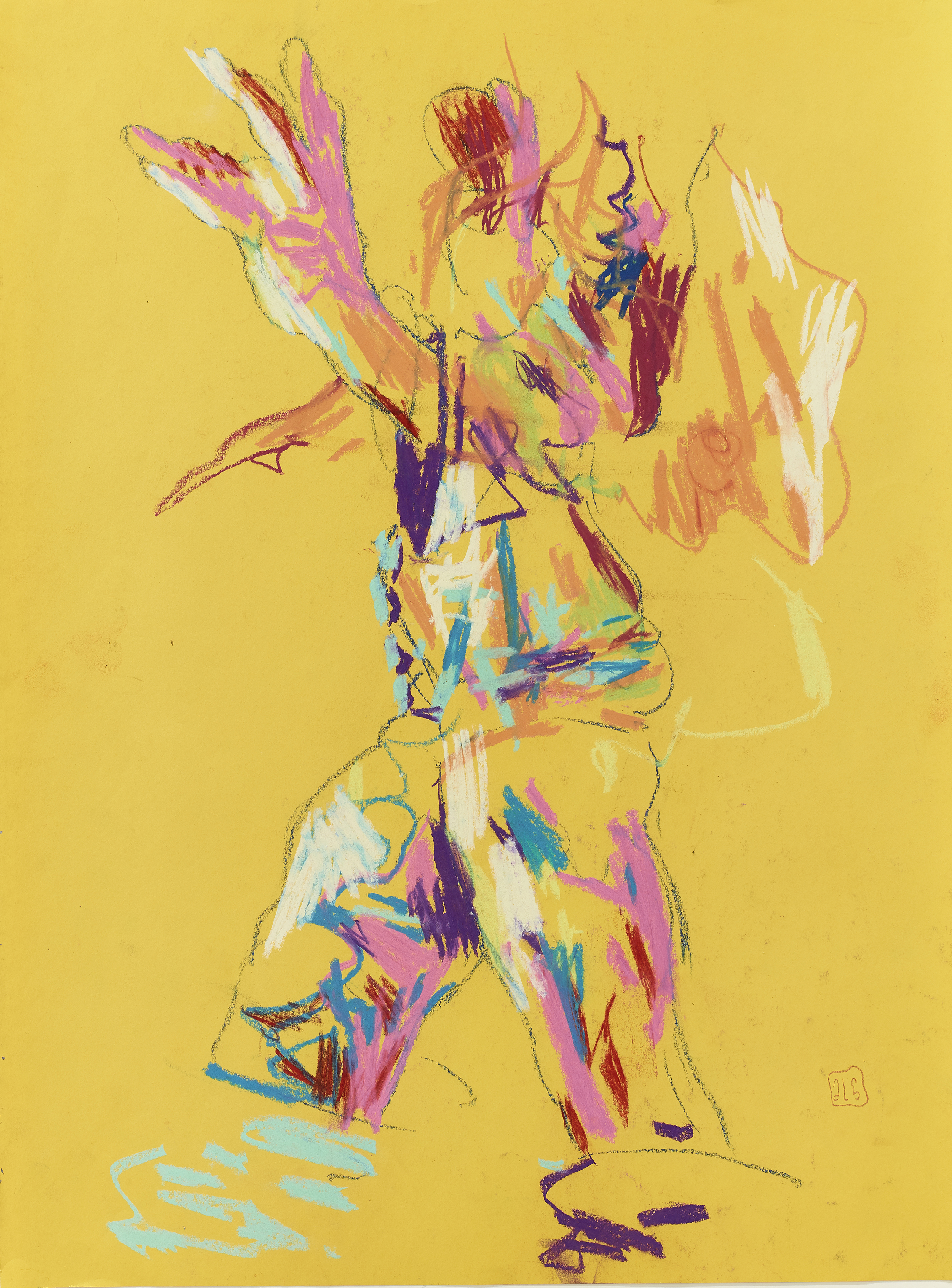 Expressive figure on yellow
