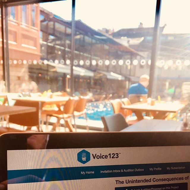 Taken myself out of the confines of the studio / sound-booth to catch up on my #voice123 perspective #auditions in the lovely establishment that is @lidobristol 😊🎙