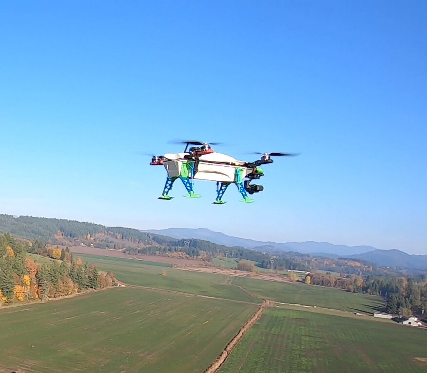 Inaugural flight of first hemp composite drone for agricultural monitoring.