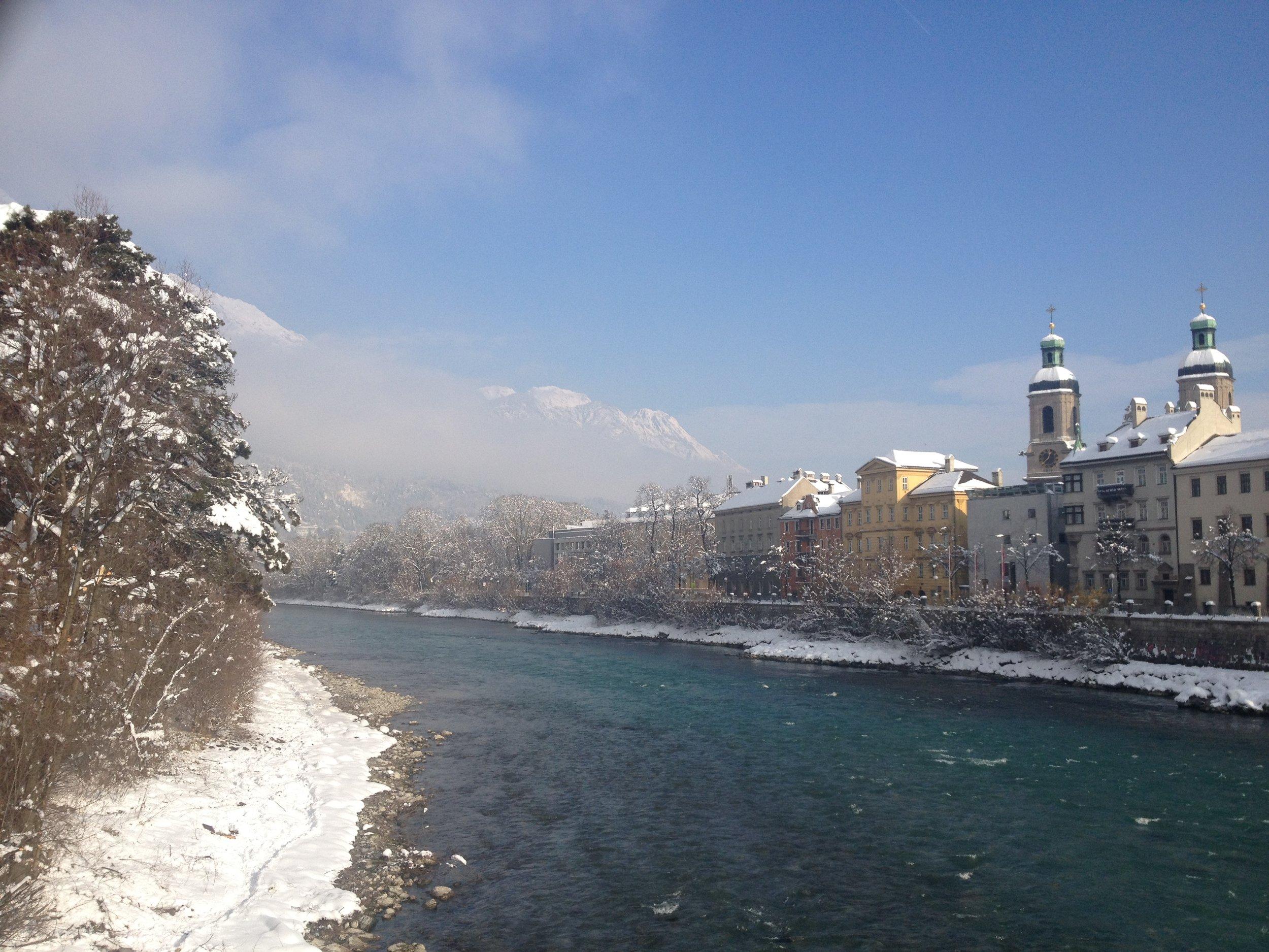 Cold, snowy morning in Innsbruck, Austria