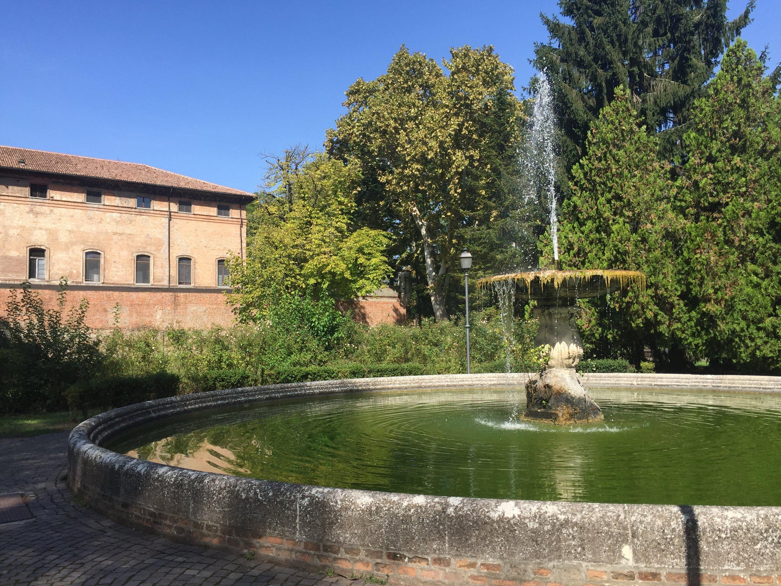 Seeking a little shadow in  Ferrara, Italy