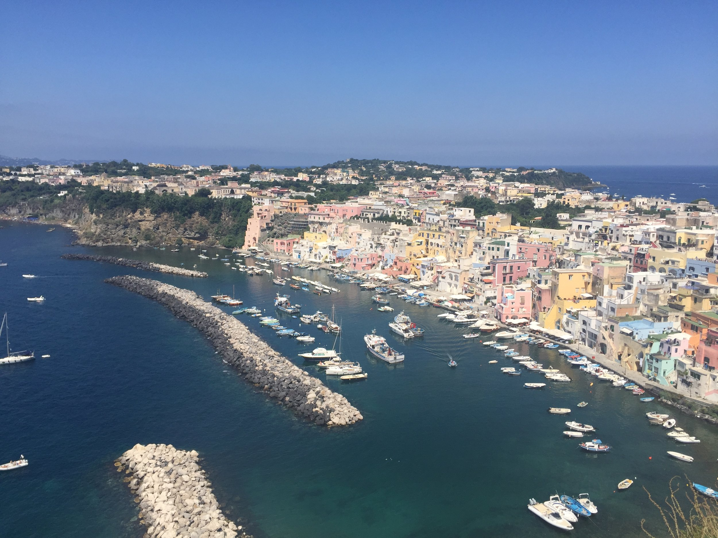 Main harbour on the Isle of Procida, Italy