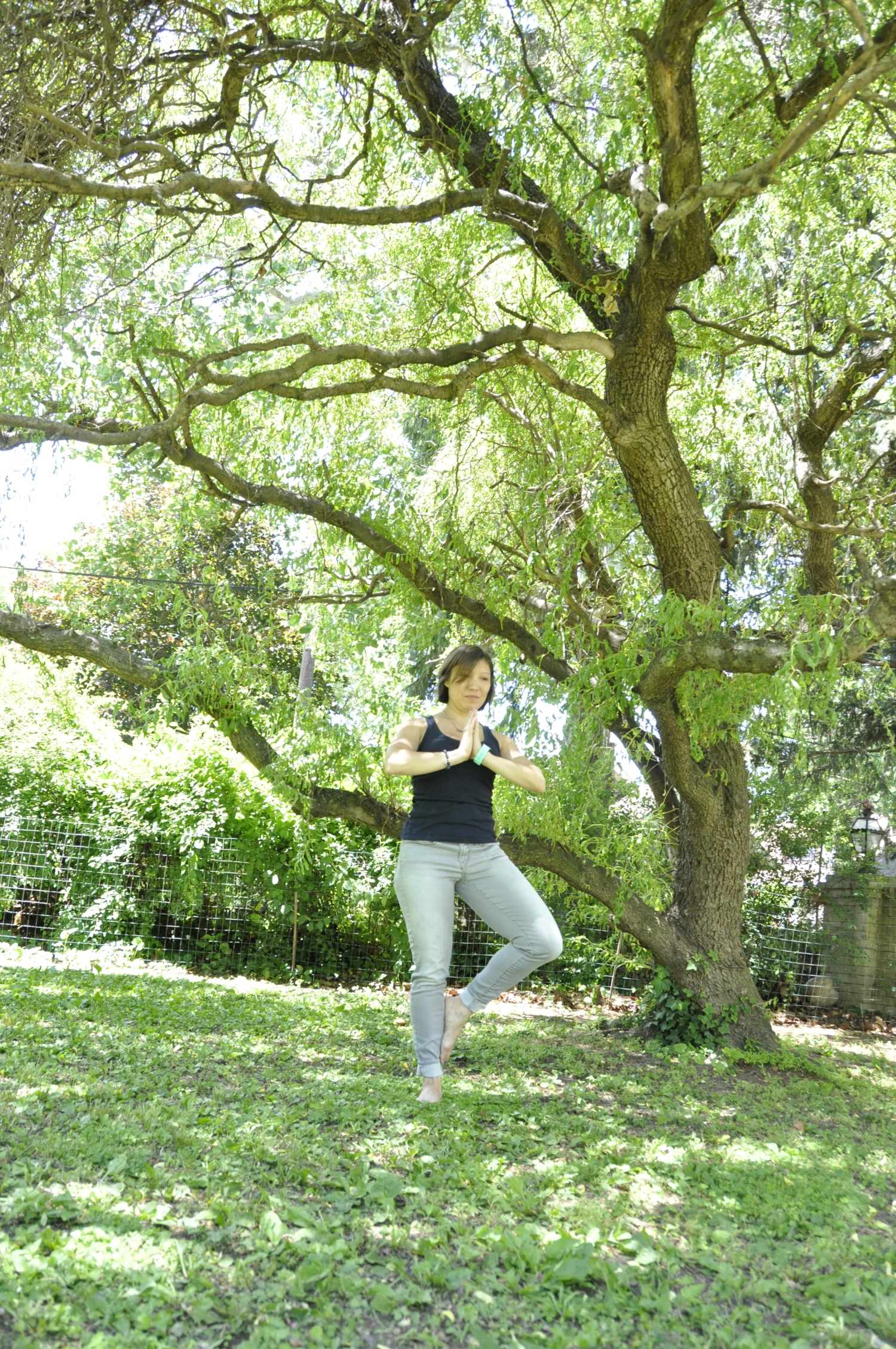 Sometimes my left knee hurts in tree pose (Vrksasana) because I don't have full flexion there. So I frequently now opt to keep my leg lower instead of forcing myself into it.   Photo credit:    Aly Gaul   .