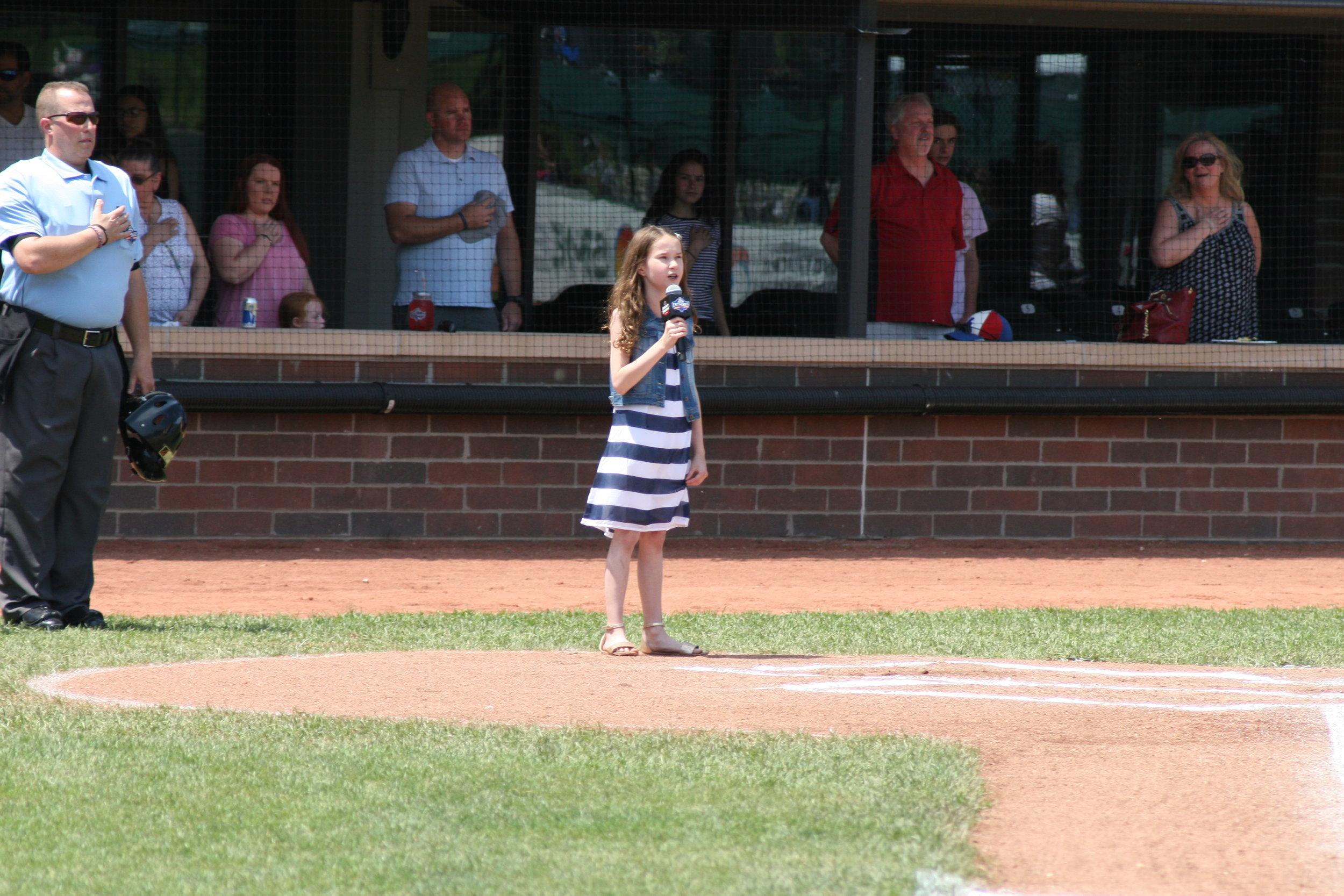 Memorial Day 2018 at Jimmy John Field (2) Brie National Anthem.JPG