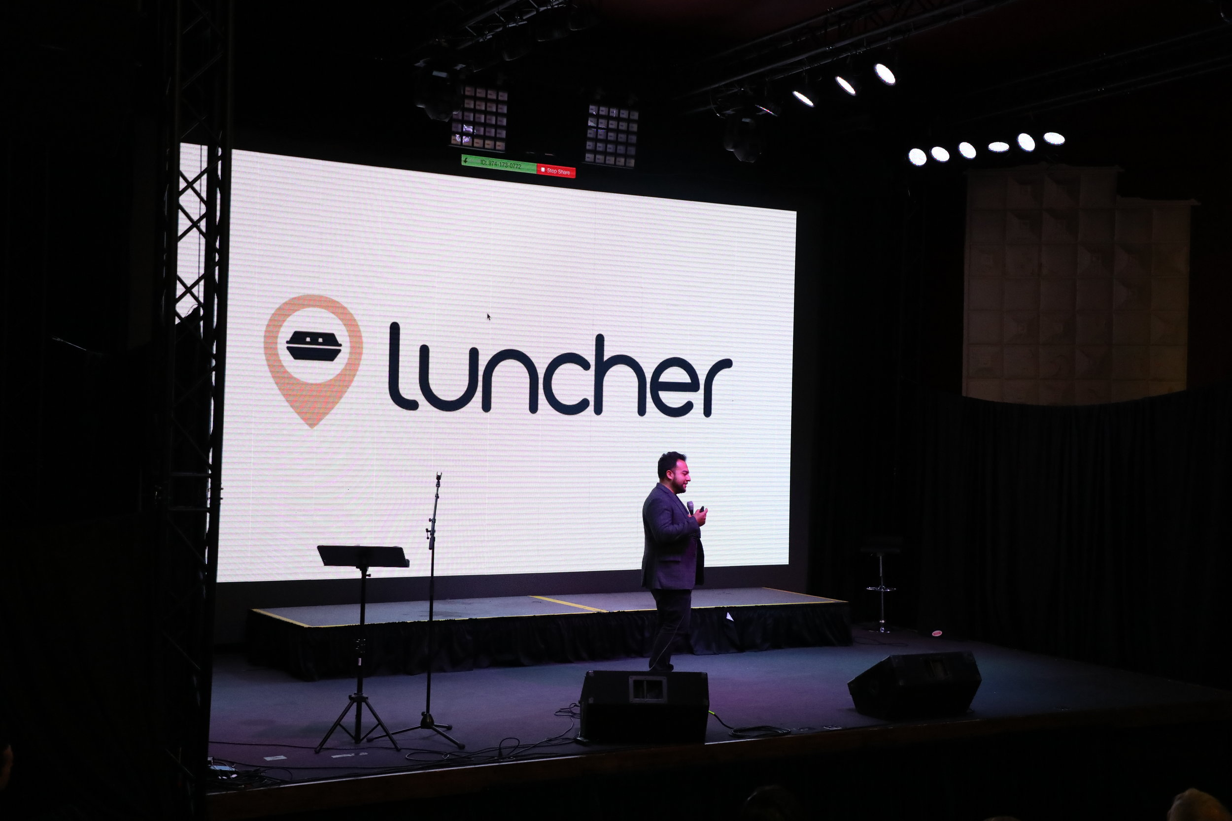 Edwin Ortiz pitches Luncher at the Fuel Accelerator Demo Day in May.