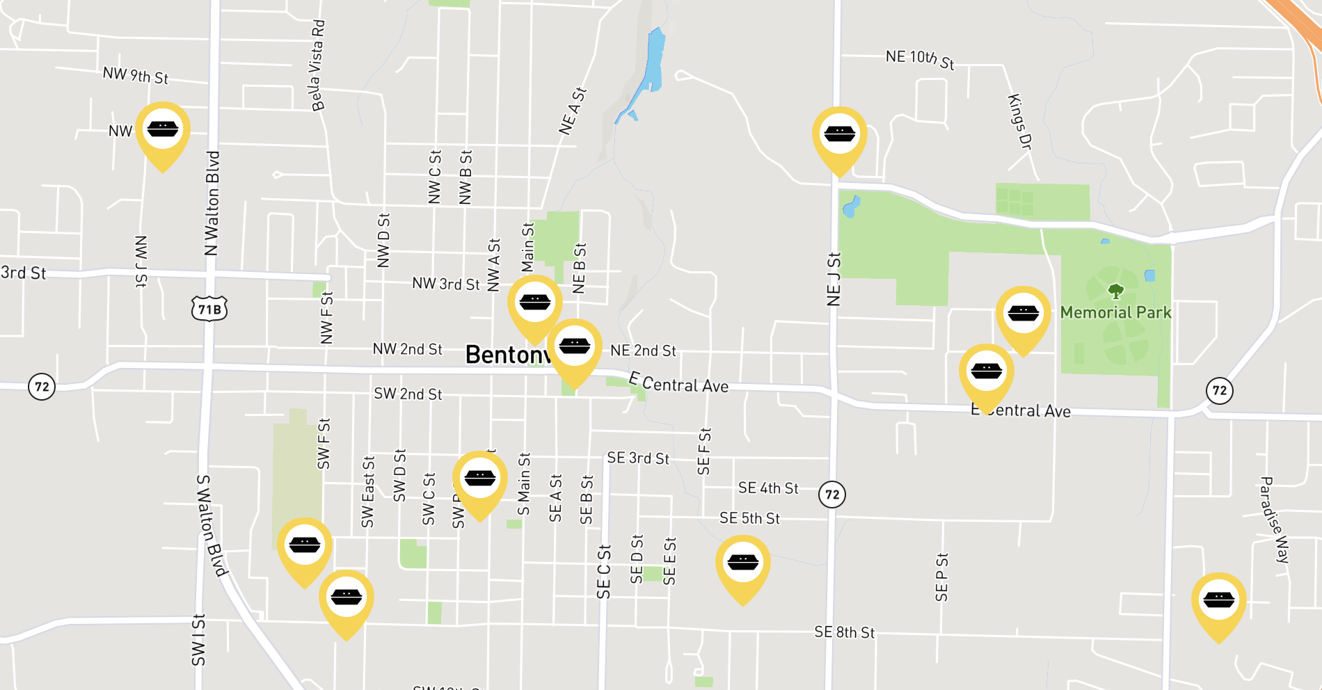 Luncher hot spots are spread across Bentonville and the rest of Northwest Arkansas.