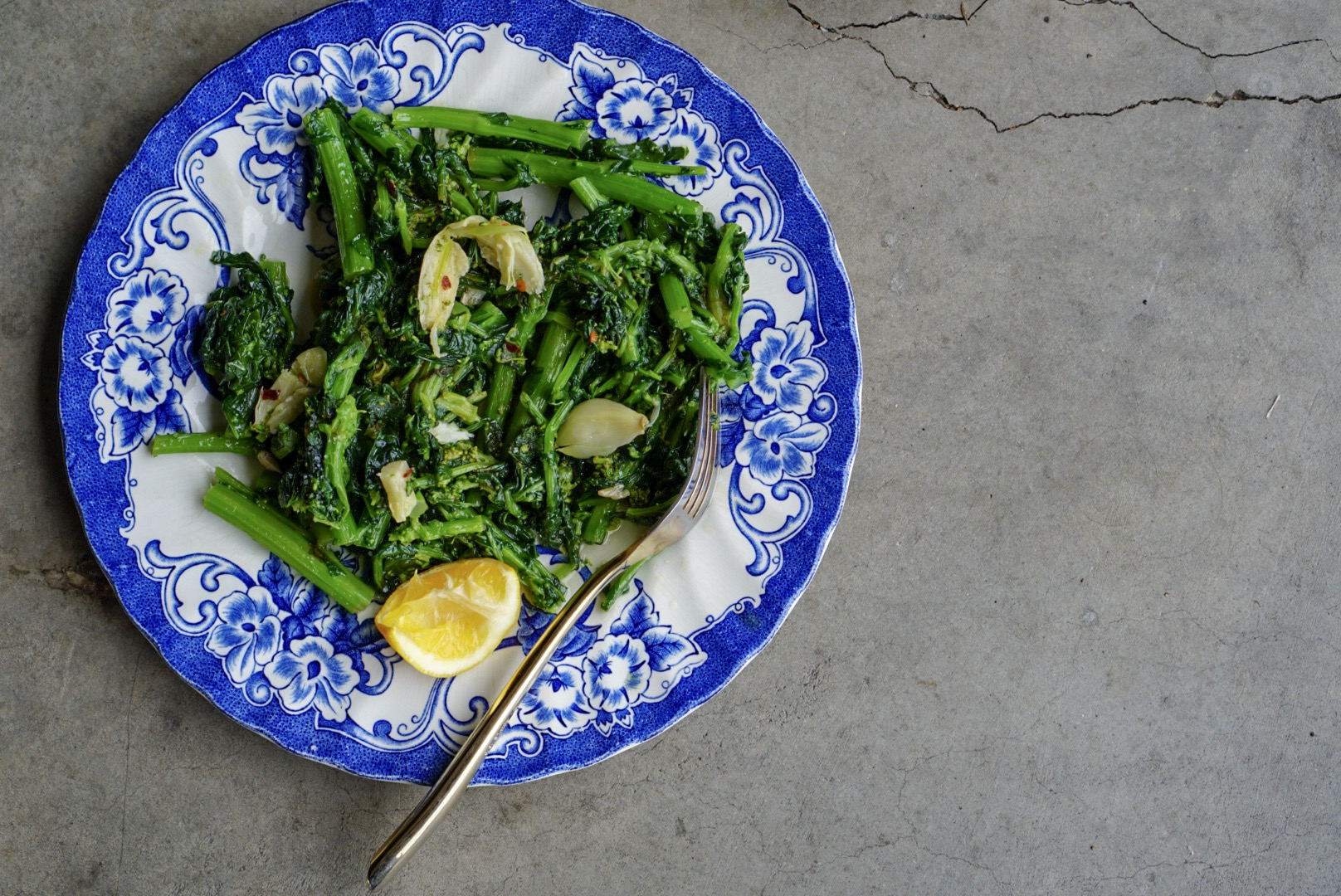 greens with garlic + lemon