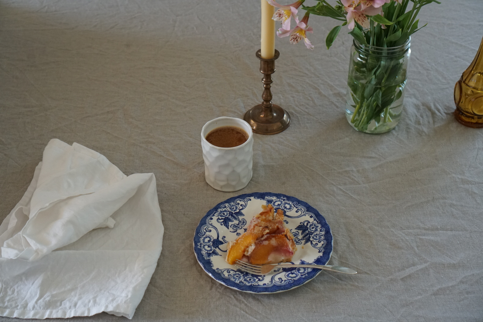 leftover peach tart and coffee