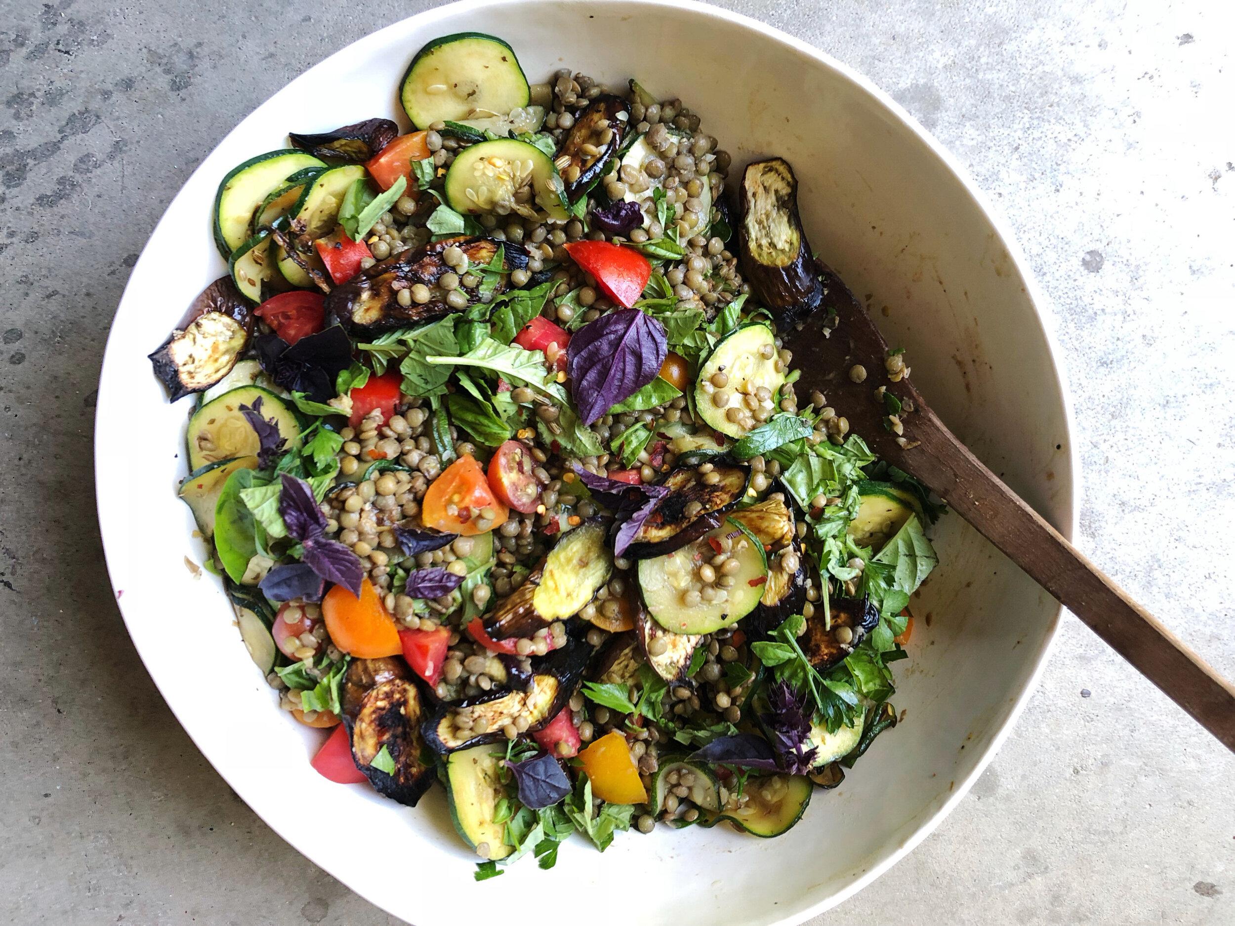 summer marinated lentil salad