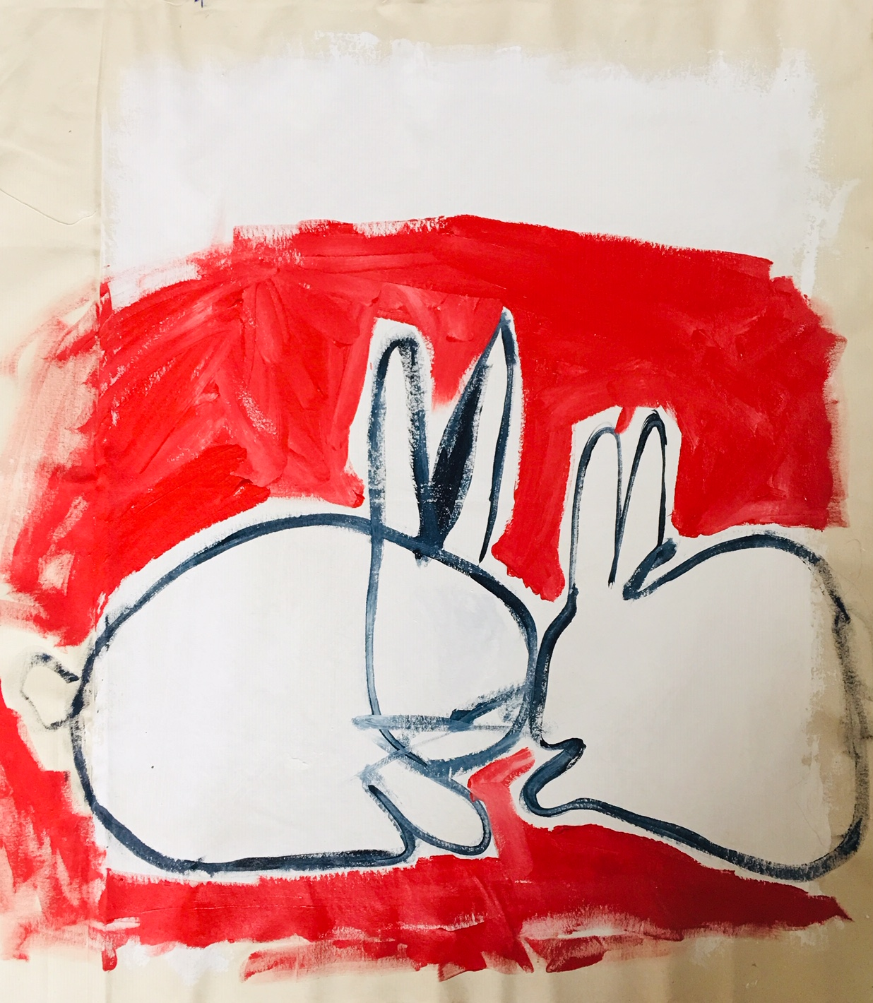 "Auspicious Bunnies  36 x 30"" Acrylic Paint on Raw Canvas"