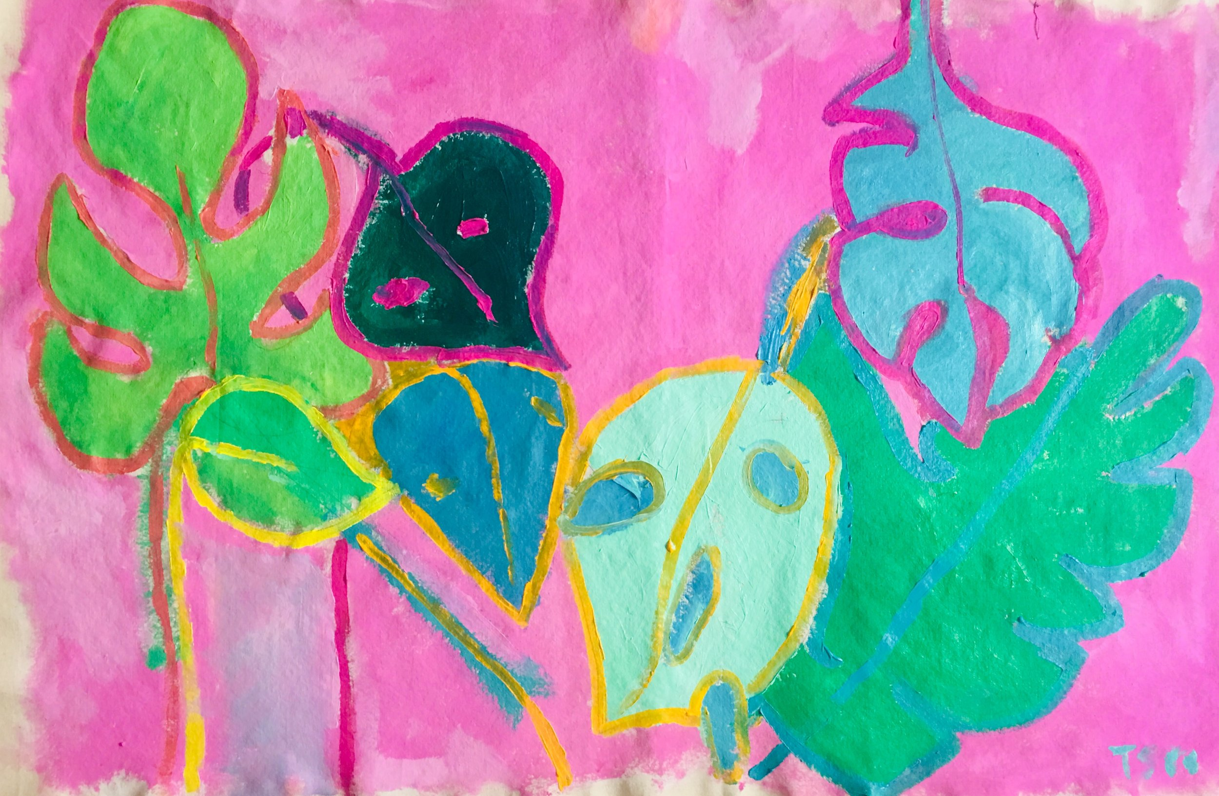 "Monstera Heaven   36 x 48""  Acrylic, Oil Pastel, on Raw Canvas"