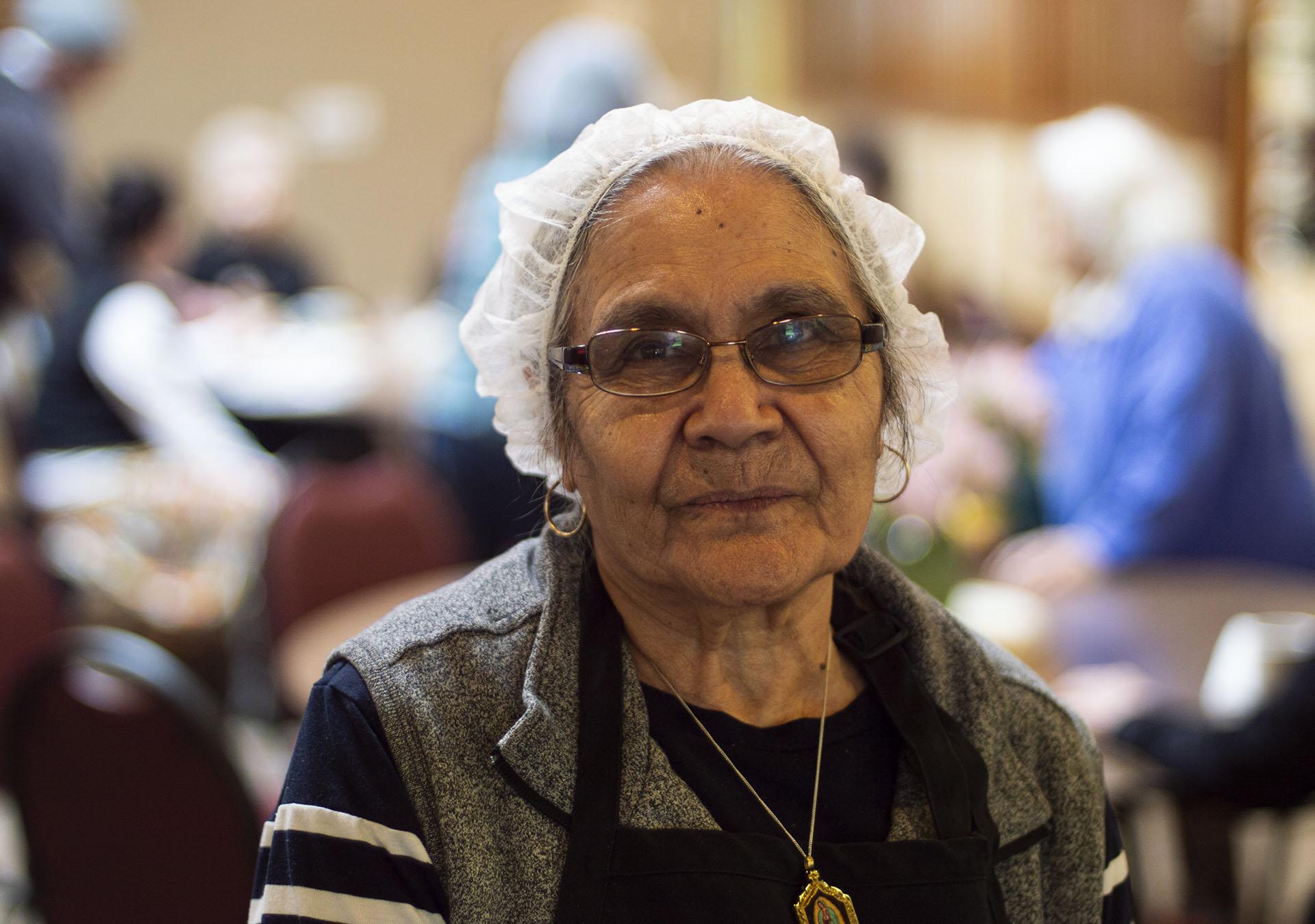 Older female volunteering at the Winter Shelter