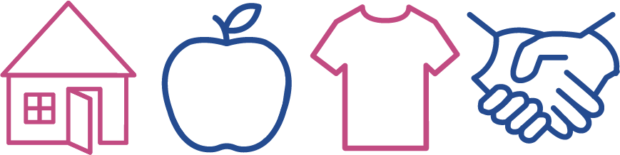 A house, Apple, Shirt, and Handshake icon representing the services of Community Connection
