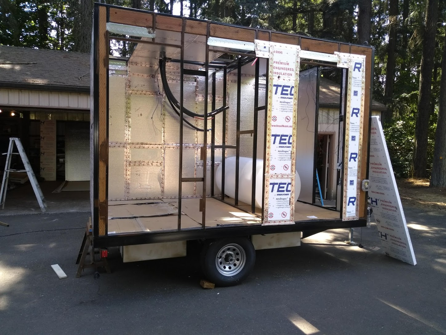 Trailer with Shower Frame attached