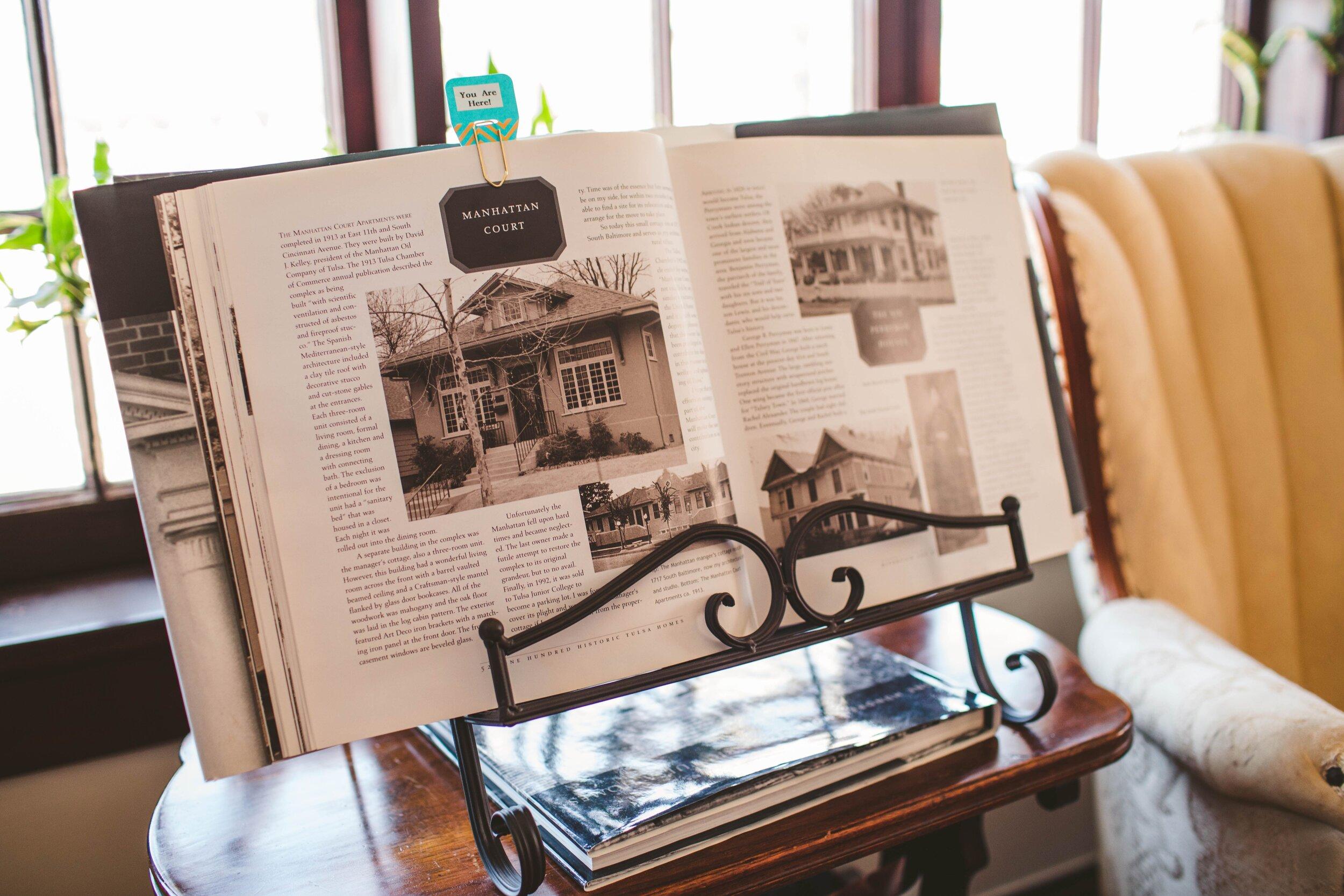 "Inside the book, ""One Hundred Tulsa Historic Tulsa Homes, written by the Tulsa Architect, John Brooks Walton."