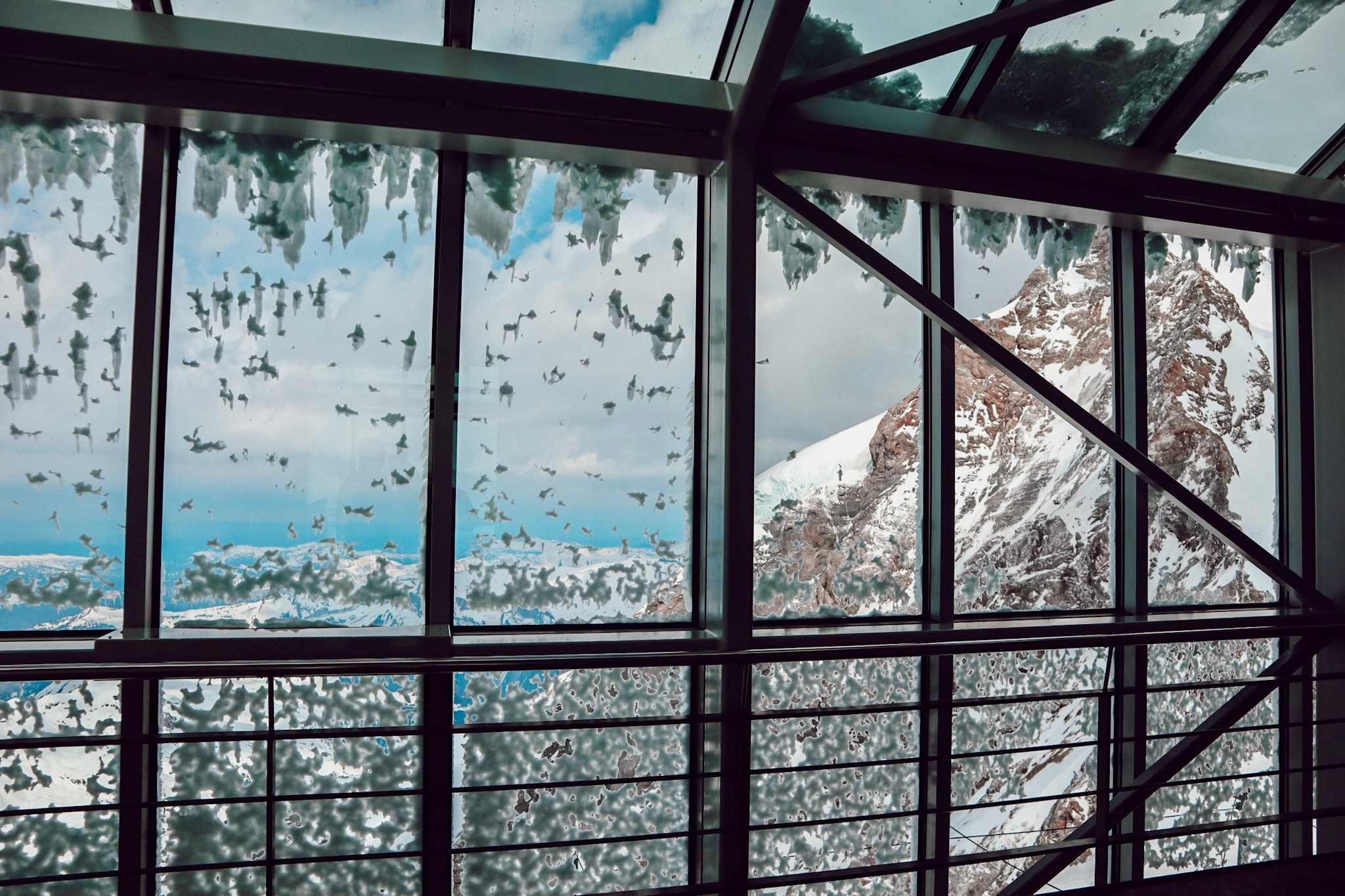 Glass windows leading out to the observation deck gives you an idea how cold this is!
