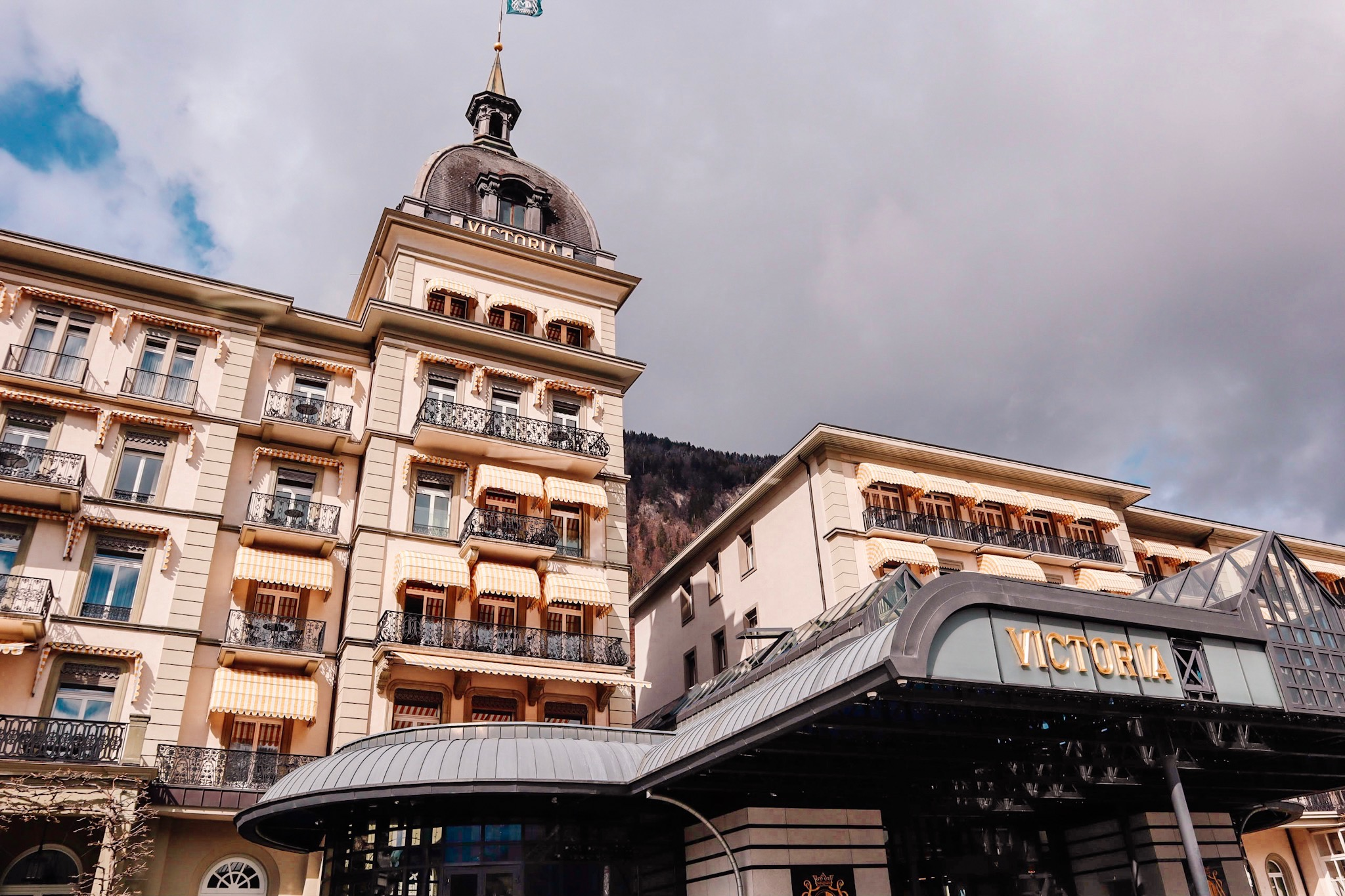 If you want to go crazy and stay in a fancy hotel, the  Victoria Hotel  is practically a historic monument and is in fact where Mark Twain stayed when he traveled to Interlaken.