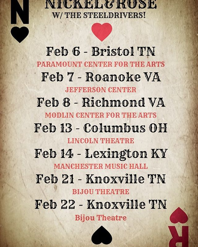 "Updated dates for our February run with @thesteeldrivers on their ""Bad For You"" tour! A second show in Knoxville has been added! Soon we'll be announcing some Nickel&Rose tour dates for February as well!! tickets available now and more info at nickelandrose.com * * * * *#nickelandrose #thesteeldrivers #bluegrass #americanamusic #folkmusic #tourdates #folk #tennessee #livemusic #ontour #folkband #bluegrassmusic #bluesgrass #soulgrass #columbusohio #livemusicroanoke"