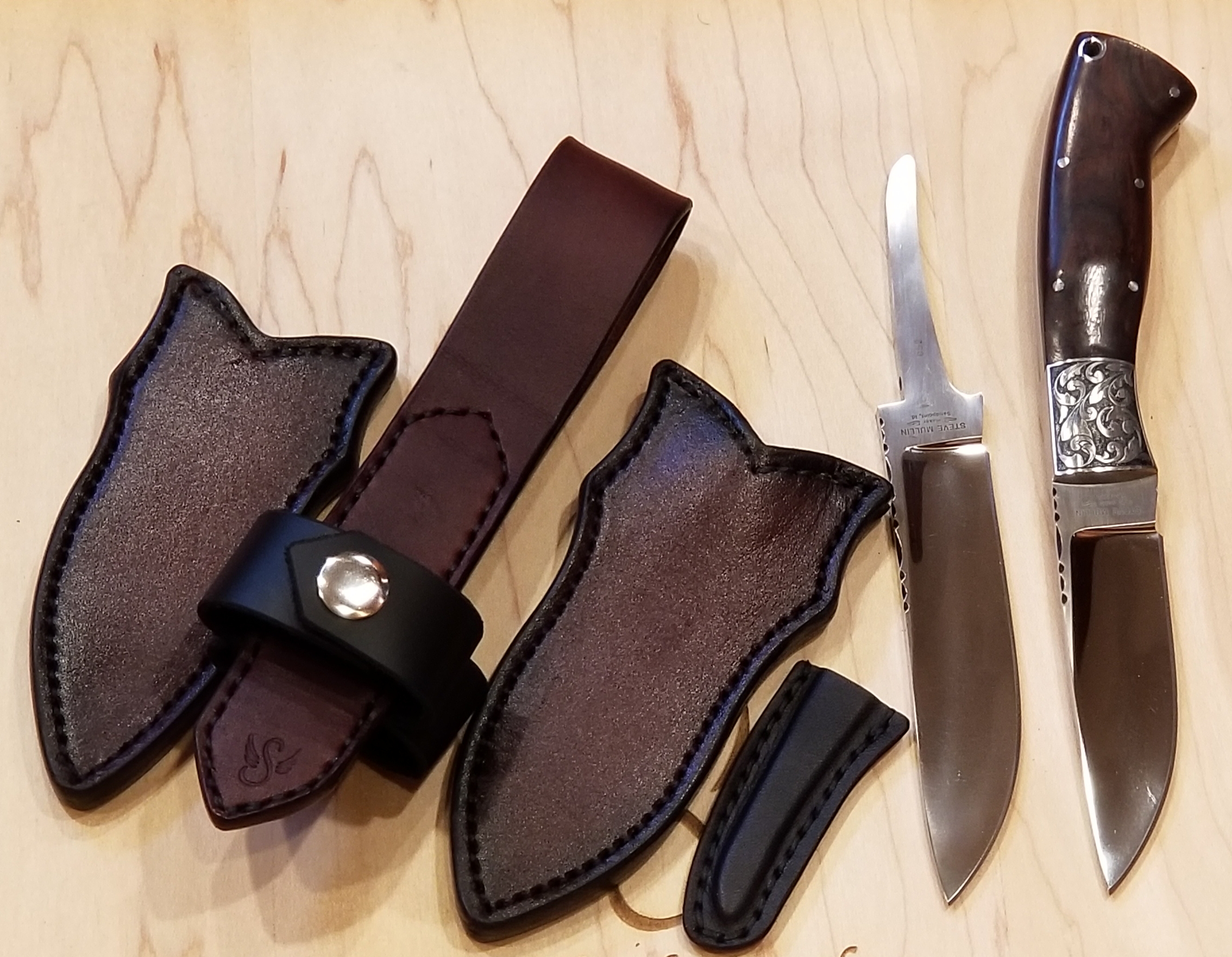 Mexican Carry sheath for two blades. Knife by Steve Mullin