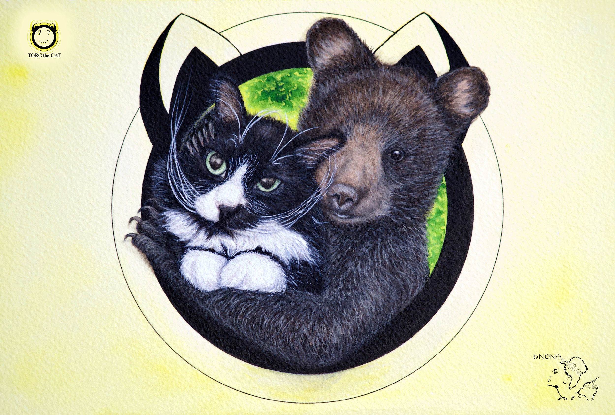 """BEAR HUG""- Watercolor on Paper"