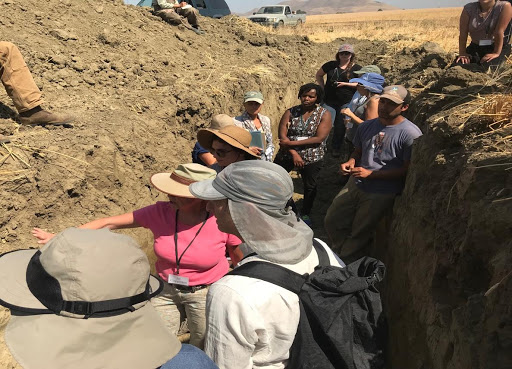 Health Practitioners in Soil Pit at the Soil Health Learning Lab, Paicines Ranch, CA, 2018
