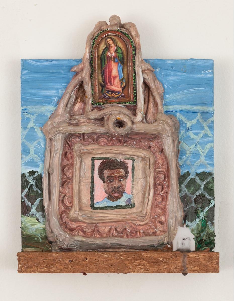 Jemel - Acrylic resin, caulk, pigment, votive candle, found Virgin Mary laser cut figurine, on wood shelf. 2019.