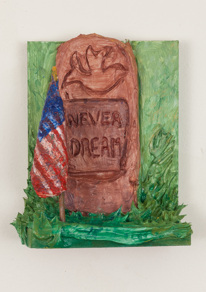 Patriot - Acrylic resin, caulk, pigment, broken paintbrush, paint skin, on wood shelf. 2018.